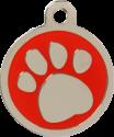 Pawprint Red Pet Tag